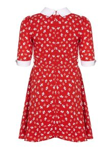 Yumi Girls Red Dog Printed Dress