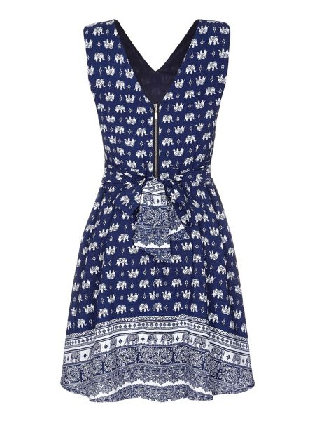 Mela London Blue Elephant Printed Dress