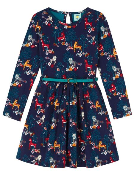 Yumi Girls Woodland Animal Belted Dress