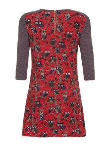 Yumi Girls Red Owl Knitted Dress