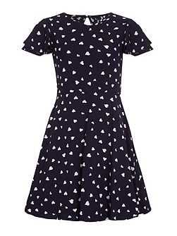 Heart Printed Party Dress