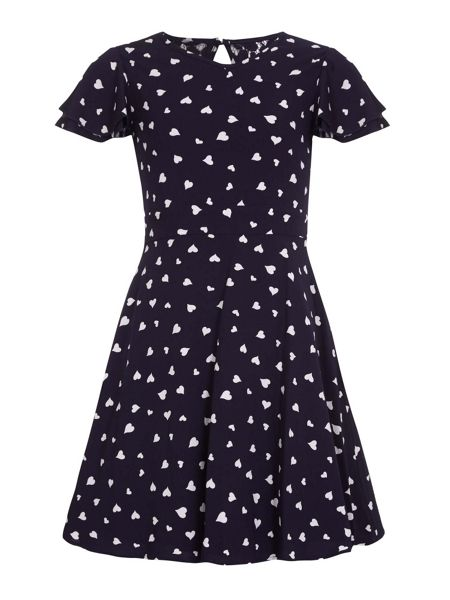 Yumi Girls Heart Printed Party Dress