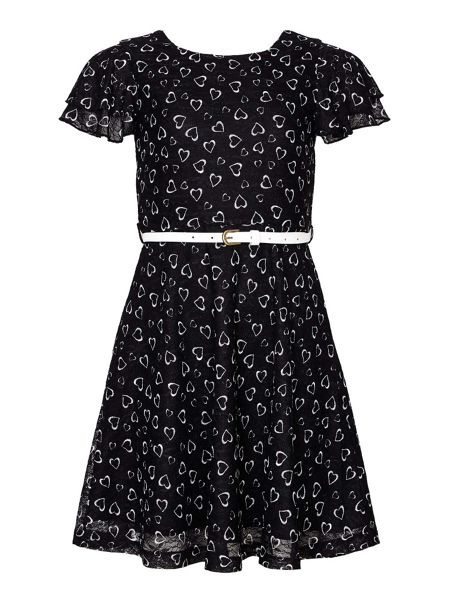Yumi Girls Heart Printed Lace Dress