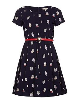 Owl Print Belted Dress