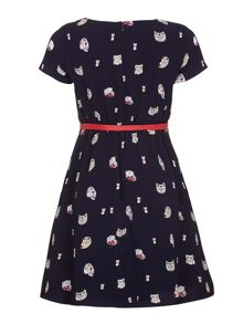 Yumi Girls Owl Print Belted Dress