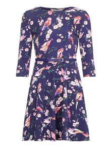 Yumi Girls Floral Bird Printed Dress
