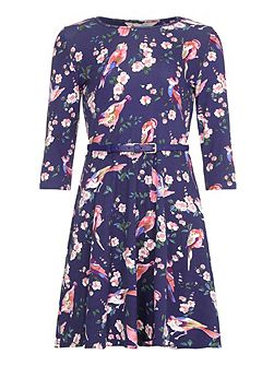 Floral Bird Printed Dress