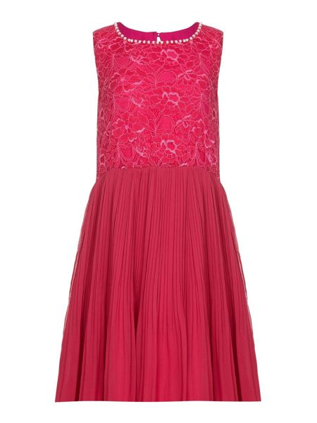 Yumi Girls Lace Embellished Neckline Party Dress