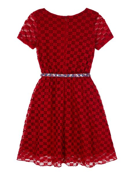 Yumi Girls Lace Belted Party Dress