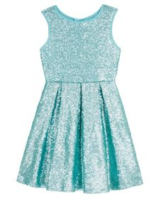 Yumi Girls Sequin Pleated Party Dress