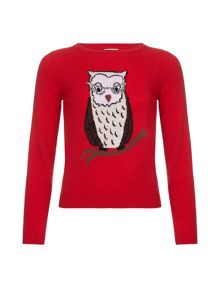 Yumi Girls Sequinned Owl Jumper