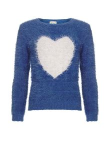 Yumi Girls Fluffy Embellished Jumper