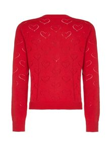 Yumi Girls Heart Pointelle Cardigan