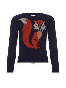 Yumi Girls Knitted Fox Jumper