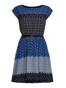 Yumi Printed Belt Dress