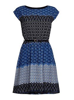 Printed Belt Dress