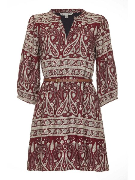Yumi Tunic Belt Dress With Monochrome Paisley Print