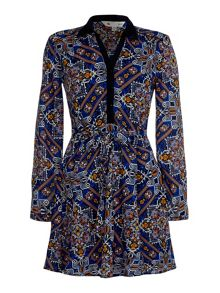 Yumi Long Sleeve Printed Shirt Dress