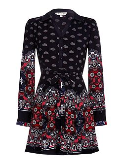 Shirt Dress With Floral Fan Print