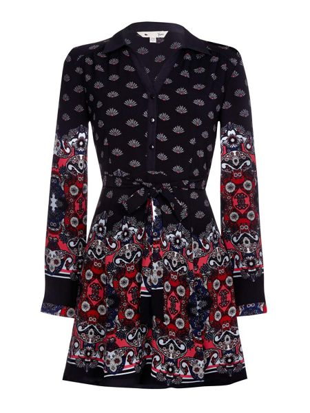 Yumi Shirt Dress With Floral Fan Print