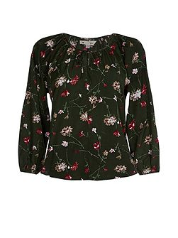 Olive Floral Printed Long Sleeve Top