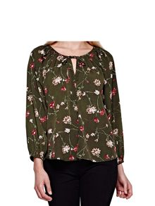 Yumi Olive Floral Printed Long Sleeve Top