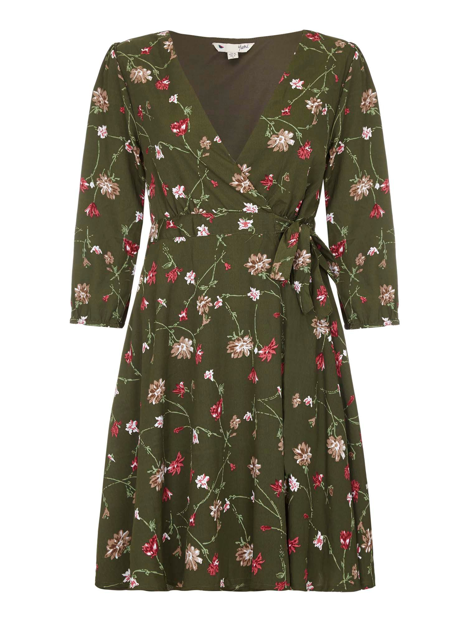 Yumi Floral Print Wrap Dress, Green