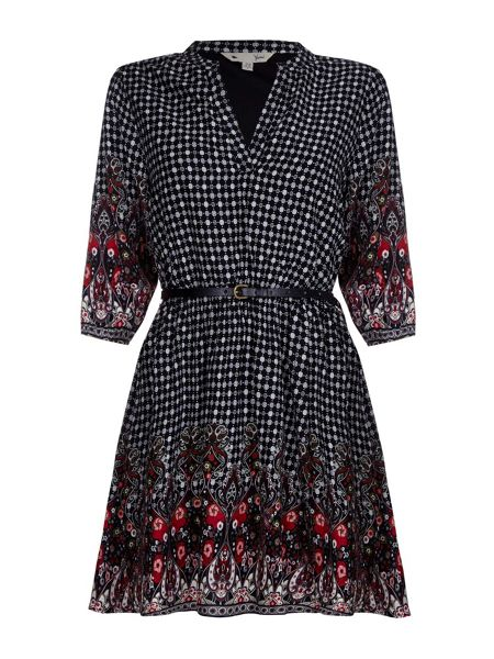 Yumi Tunic Belt Dress With Paisley Spot Print