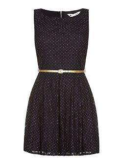 Blue Lace Dress With Gold Spots