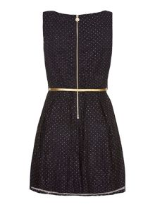 Yumi Blue Lace Dress With Gold Spots