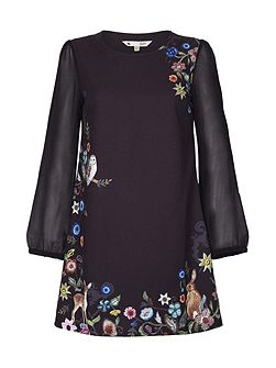 Embroidered Floral Tunic Dress