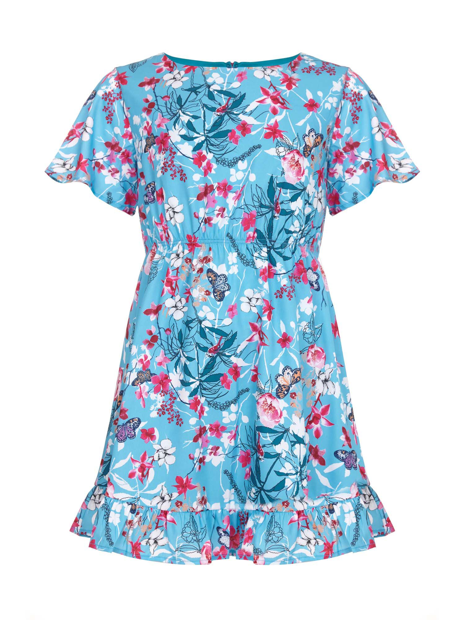 Yumi Girls Botanical Printed Dress, Blue