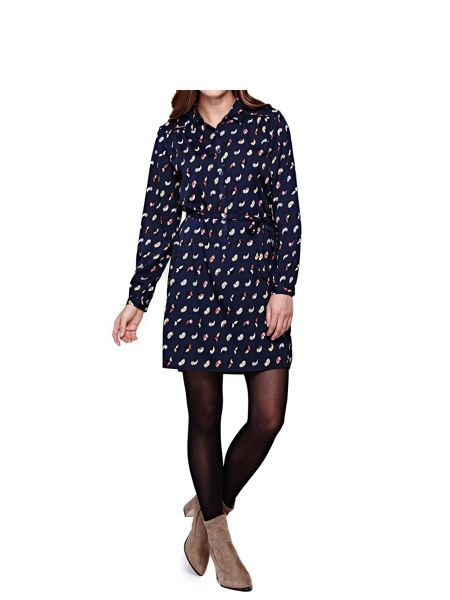 Yumi Bird Printed Shirt Dress