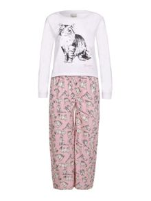 Yumi Girls Cat Printed Pyjama Set
