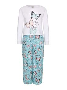 Yumi Girls Butterfly Print Pyjama Set