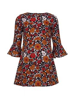 Floral Bell Sleeve Tunic Dress