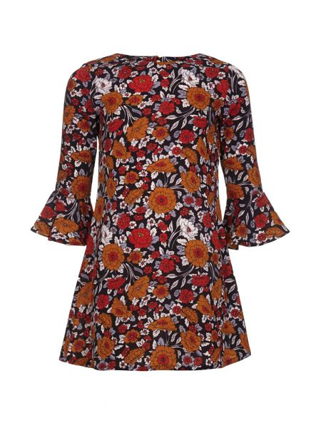Yumi Girls Floral Bell Sleeve Tunic Dress