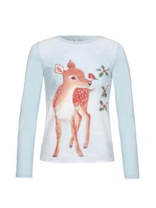 Yumi Girls Reindeer Long Sleeve Top