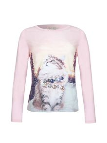 Yumi Girls Embellished Cat Top