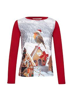 Robin Gingerbread Long Sleeve Top