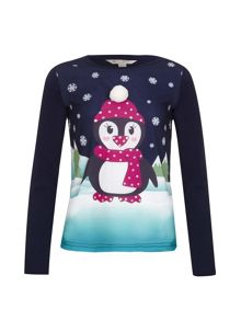 Yumi Girls Embellished Penguin Top