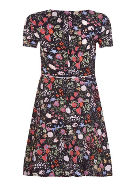 Yumi Girls Floral Embroidered Short Sleeve Dress