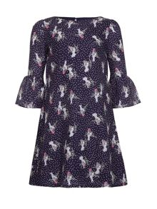 Yumi Girls Bird Spot Printed Dress