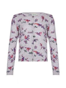 Yumi Girls Floral Bird Cardigan