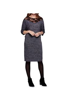 Yumi Lace Neckline Jersey Dress