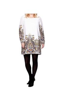 Yumi Curves Yumi Curves Printed Long Sleeve Tunic
