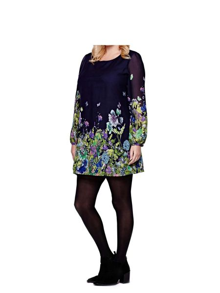 Yumi Curves Floral Butterfly Tunic Dress
