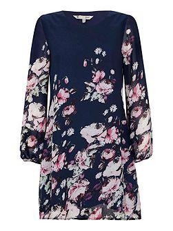 Floral Rose Print Tunic Dress