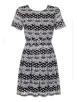 Printed Short Sleeve Day Dress