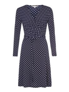 Yumi Jersey Wrap Dress With Polka Dots